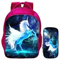 Special Offer Hot Sale Suit 16-Inch Prints Animal Horse Kids School Backpack Pink Girls School Bags for Children Schoolbag Women