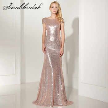 Sexy Backless Rose Gold Sequined Evening Dresses Cap Sleeves Mermaid Long Cheap Party Gown Vestido De Festa Longo SD347 - DISCOUNT ITEM  25% OFF All Category