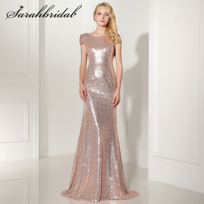 Sexy Backless Rose Gold Sequined   Evening     Dresses   Cap Sleeves Mermaid Long Cheap Party Gown Vestido De Festa Longo SD347