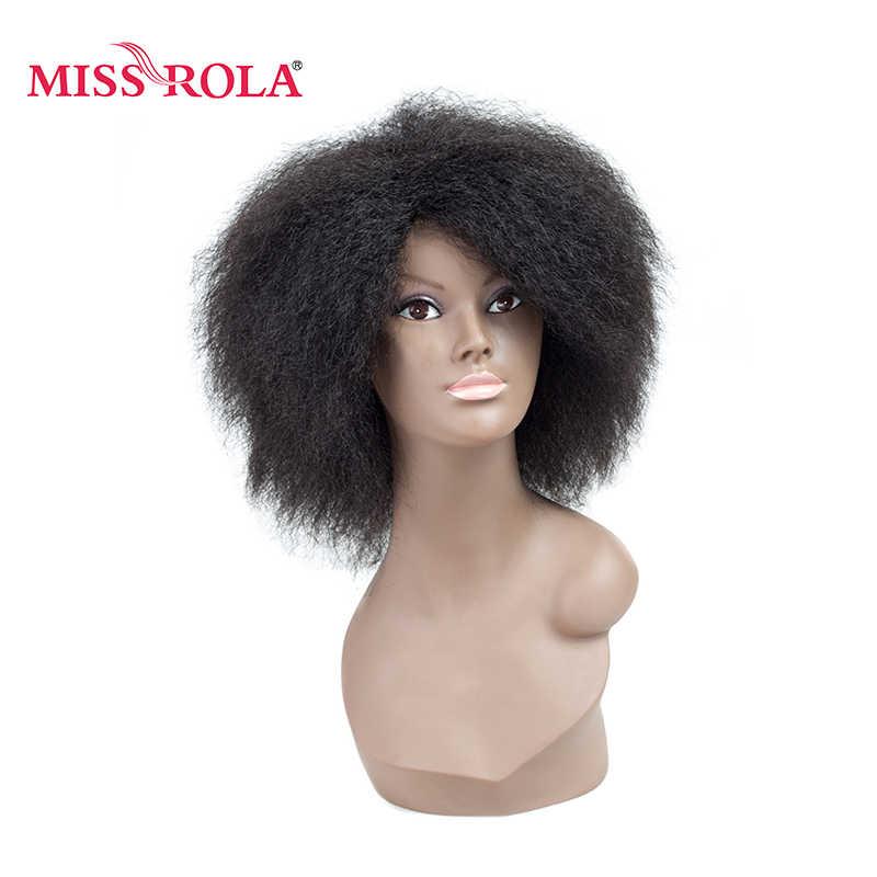 Мисс Рола 6 ''Kinky прямая челка Kenekalon теплостойкая проволока Для женщин Perucas Burg черные короткие полный парик