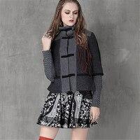 Brand Women Fashion Slim Jacket 2017 Winter New Vintage Woolen Coats Hit Color Patchwork Women S