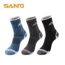 Sports-Socks Warm Outdoor 45%Merino-Wool Men Climbing SANTO/S017 2-Pairs/Lot