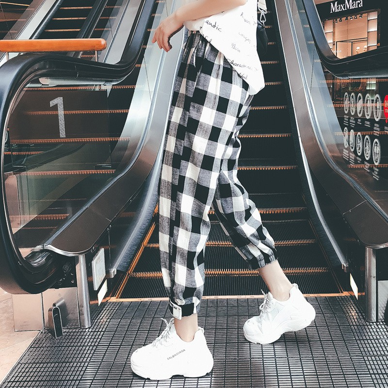 Women  Loose Ankle-Length Pants Plaid Cargo Pants Drawstring Girls Plus Size Mid Waist Bodycon Trousers Fashion Pantalon