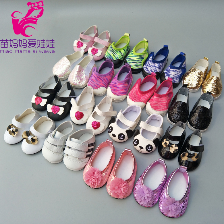 цена на Doll shoes for 43 cm new born baby Doll black white Prink Shoes For 18 American Girls Doll shoes sneacker doll Accessories