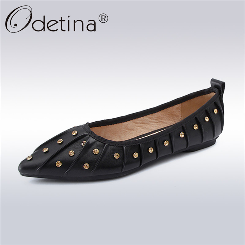 Odetina 2018 New Fashion Ladies Genuine Leather Flats Pointed Toe Crystal Elegant Shoes For Women Casual Slip On Soft Flat Shoes odetina 2017 new women pointed metal toe loafers women ballerina flats black ladies slip on flats plus size spring casual shoes