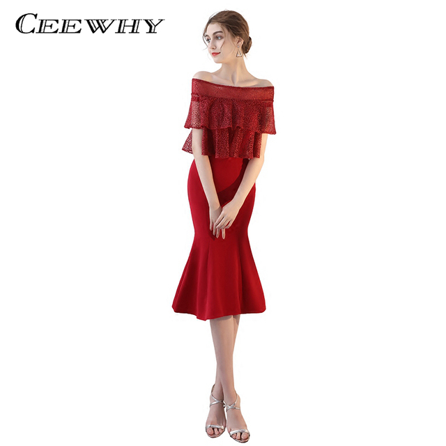 CEEWHY Ruffles Short Prom Gown Mermaid Formal Dress Tea-lenght Evening Party Dress Vestido de Festa Special Occasion Dress