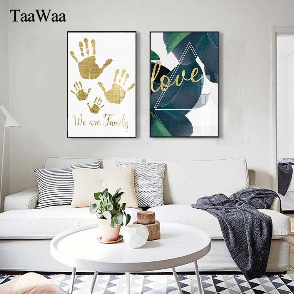 TAAWAA Nordic Decorative Paintings Gold Palm Print Poster Green Leaf Minimalist Letter Wall Art Pictures For Living Room Decor in Painting Calligraphy from Home Garden