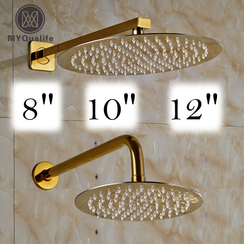 Free Shipping 8/10/12 Inch Stainless Steel Rain Shower Head Bathroom Square  And Round Golden Showerhead