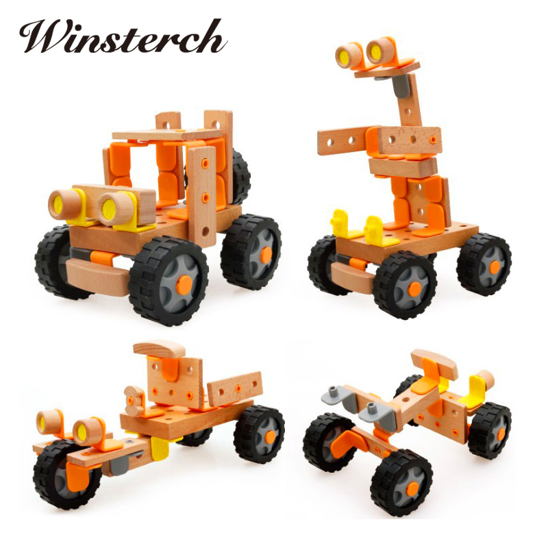 Baby Gifts DIY Wooden Assemblage SUVS Truck Helicopter Kids Children Educational Diecasts Toys Nut Vehicle Blocks Set ZS077 linvel 8170 2 ch mirror