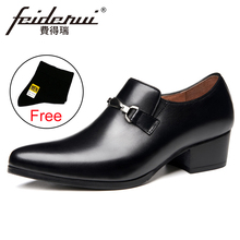 Basic Genuine Leather Formal Dress Men's Loafers Pointed Toe Metal Tipped Handmade 5cm High Heels Man Wedding Party Shoes HQS390 stiletto pointed toe pu heels