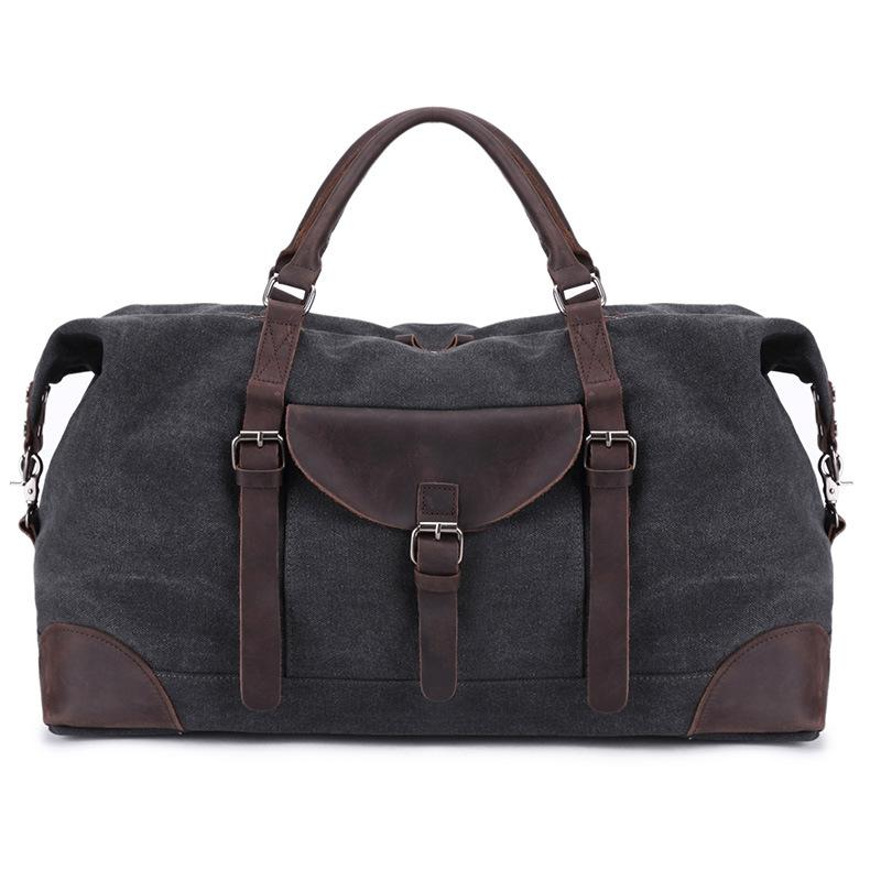 Large Capacity Men Travel Tote Retro Canvas With Crazy Horse Leather Travel Bags Hand Luggage Mens Duffle Bag