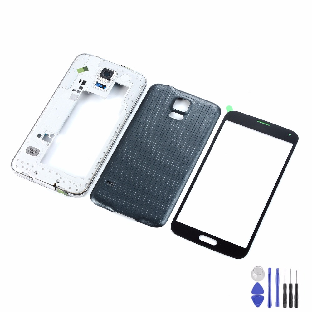 For Samsung Galaxy S5 I9600 G900F G900T G900P G900A Touch Screen Glass+Housing Middle Frame+Battery Back Cover+Tools