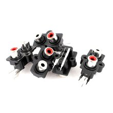 ABKM Hot 5pcs PCB Mount 2 Position Stereo Audio Video Jack RCA Female Connector