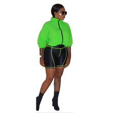2019 Summer Loose Neon Jacket And Biker Shorts Set Casual 2 Piece Women Tracksuits Sweat Suits Matching Sets