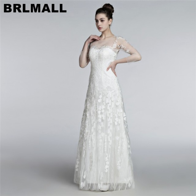 Brlmall Elegant Three Quarter Sleeves Wedding Dresses 2017 Y Illusion Lace Backless Bridal Gown Vestido