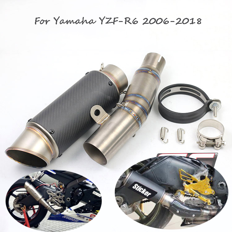все цены на For YZF R6 Motorcycle Exhaust System Slip on Carbon Fiber Exhaust Titanium Alloy Link Middle Pipe for Yamaha YZF-R6 2006-2018 онлайн