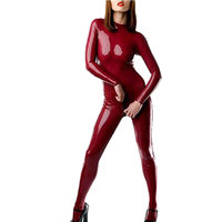Latex Catsuit for Women Second Skin One Piece Plus Size Rubber Bodysuit with Socks Adult Costume LC004