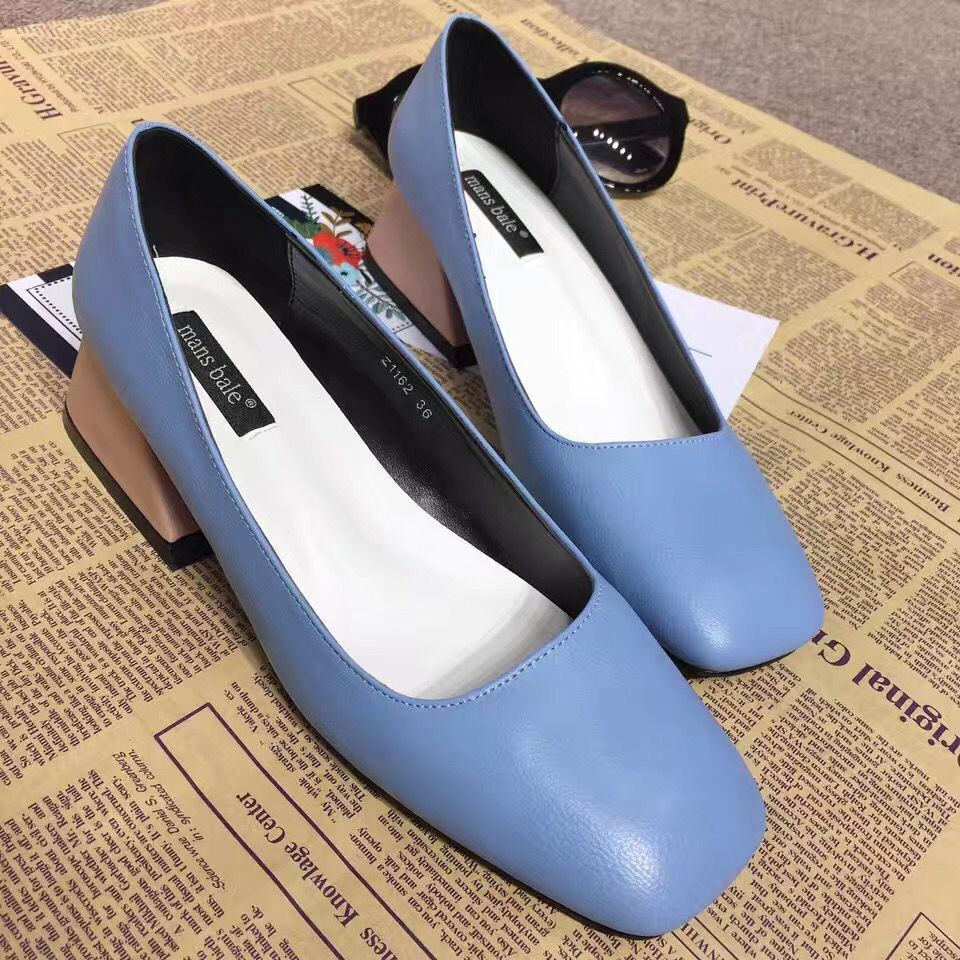 2017 New Arrival Black Pink Blue Thick High Heel Pumps 6cm Womens Heels Shallow Mouth Slip