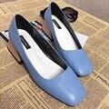 2017 Recién Llegado de Negro Rosa Azul Gruesa de Tacón Alto Bombas 6 cm Talones de Las Mujeres Resbalón en Los Zapatos de La Boca baja