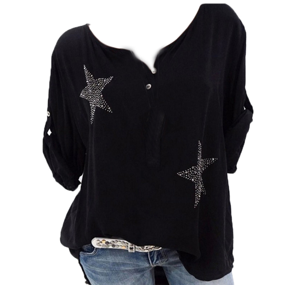 Just Shirt Women Black White 4xl 5xl Plus Size Shirt Button Five-pointed Star Hot Drill Plus Size Tops Blouse Koszula Damska-30 Mild And Mellow Women's Clothing