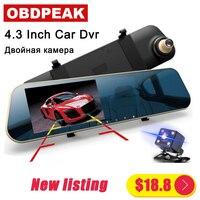 Новейший автомобильный dvr Dash камера 4,3 ''DVR автомобильное зеркало двойной Len FHD 1080 P камера заднего вида зеркало заднего вида Dashcam Авто рекордер...