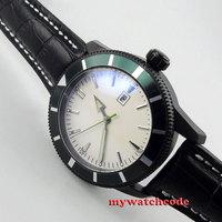 Mostrador branco estéril marcas luminosas data pvd caso movimento automático relógio masculino 20|mens watch leather band|men sport watchmens formal watches -