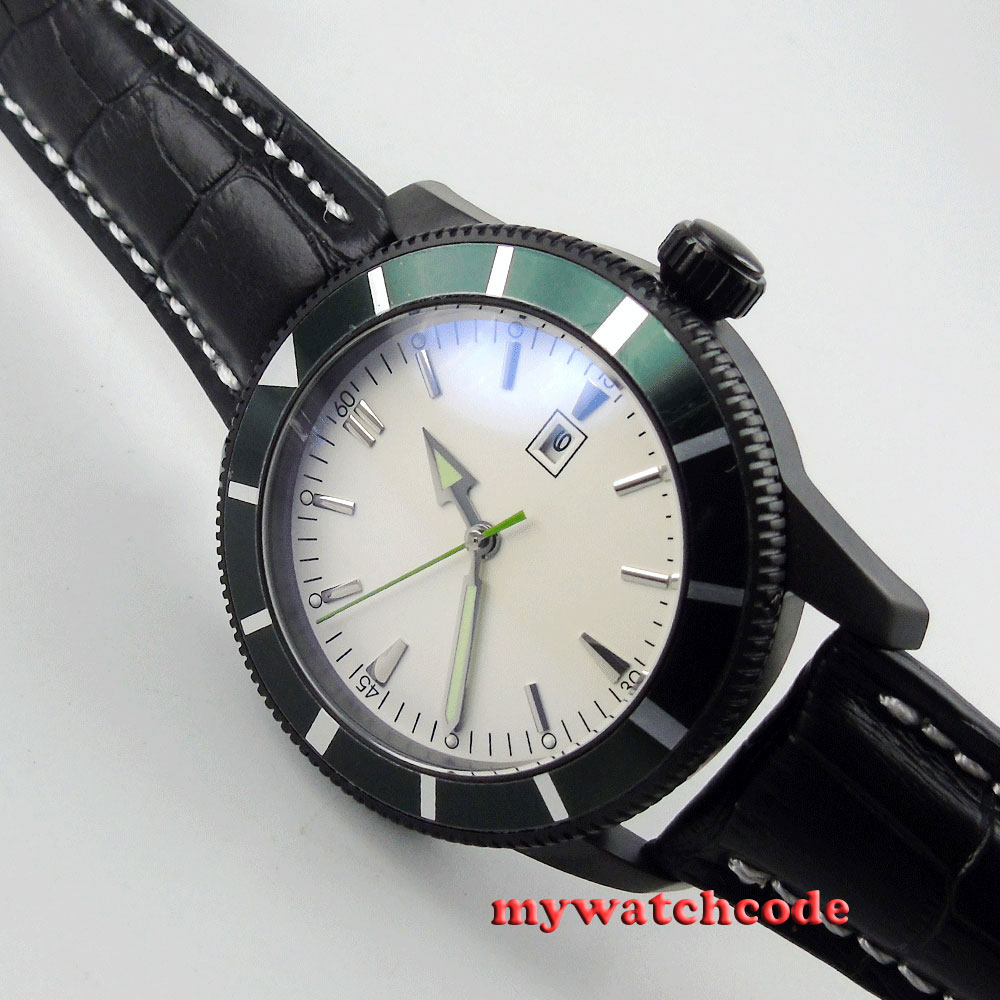 sterile white dial luminous marks date PVD case automatic movement mens watch 20 цена и фото