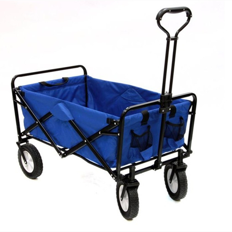 Folding four-wheeled push garden car outdoor utility wagon camping beach sports folding carriage cart with garden shopping cart image