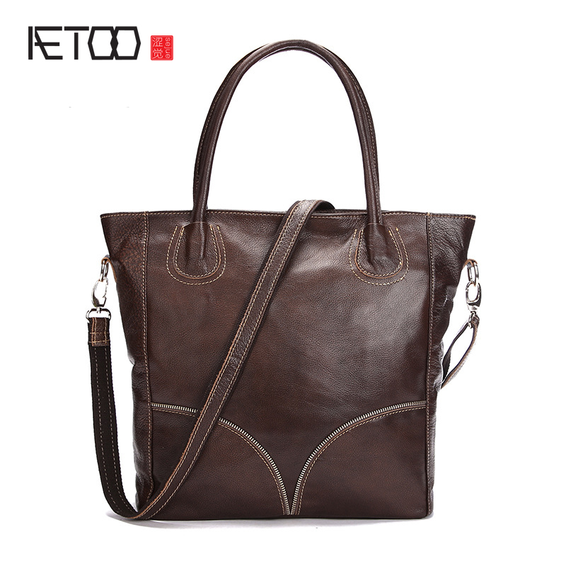 AETOO New women's handbag head layer of leather women's shoulder bag fashion casual oblique female tide package aliwilliam2017 new fashion ladies shoulder bag rivets casual handbag street hand tide package tassel bag hot female shoulder bag