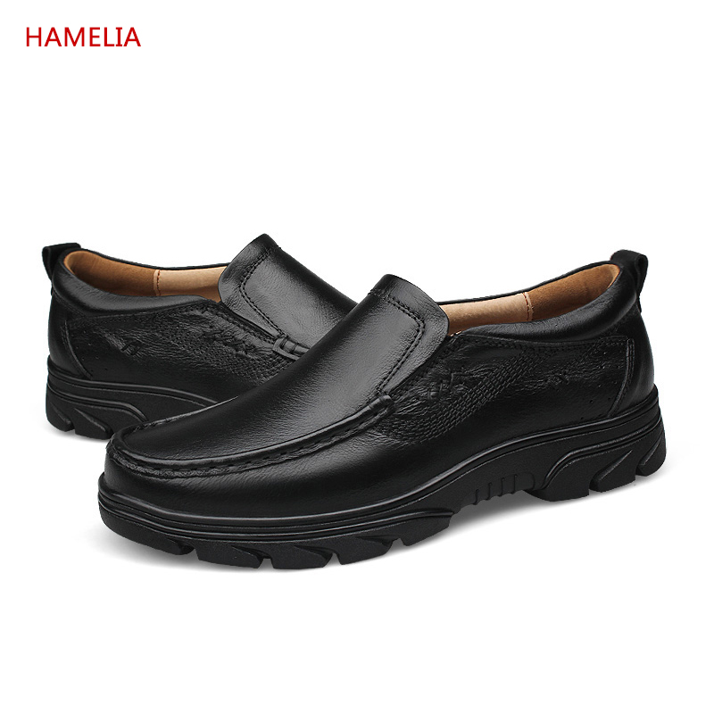 Hamelia Big size 46 Genuine Leather Men Casual Shoes Black Cow Leather Shoes Slip On Men lazyer Loafers Flats hamelia big size 49 genuine leather men winter casual shoes black cow leather shoes slip on lace up men lazy loafers flats