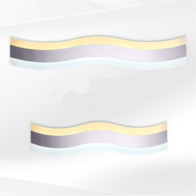 Modern Brief Creative Wave Shape Waterproof Acryl font b Led b font Mirror Light for Bathroom