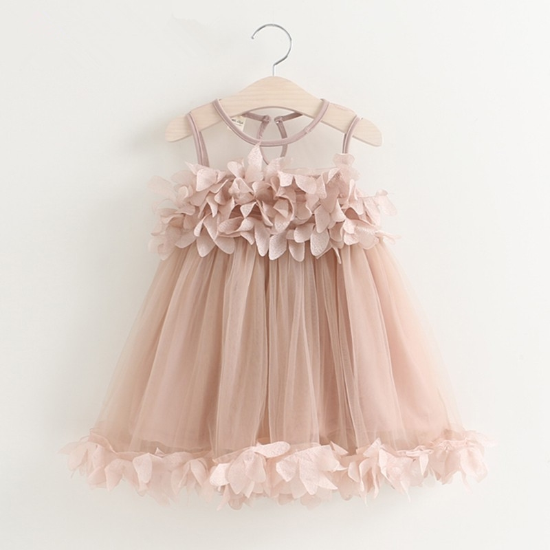 Baby Girls DressG 2018 New Summer Mesh Girls Clothes Pink Applique Princess Dress Children Summer birthday princess Clothes2-6y