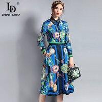 LD Linda della 2018 Fashion Runway diseñador traje de manga larga de las mujeres rebordear blusa y impreso vintage Faldas dos piezas conjunto