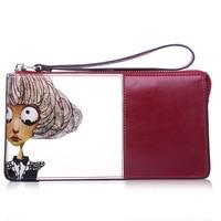 Fashion Zipper Clutch Bag Handbag Day Clutches Women Cow Leather Cartoon Printing Long Purse Card Holder Wallets Girl Bags
