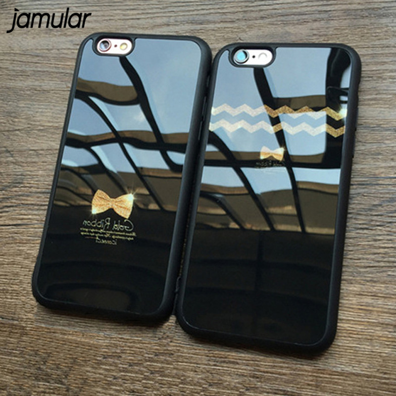 JAMULAR Bow Tie Silicone Mirror Case For iPhone X 7 6 6s