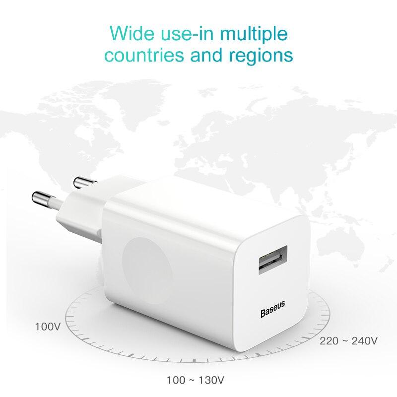 Baseus 24 Вт Быстрая зарядка 3,0 USB зарядное устройство QC3.0 настенный мобильный телефон зарядное устройство для iPhone X Xiaomi Mi 9 Планшет iPad ЕС QC Быстра...