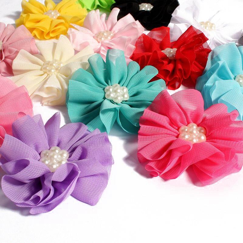 50 pçs lote 6.5 cm 15 cores Newborn Chiffon Flores Com Pérola Para  Acessórios de Cabelo Flores de Tecido Artificial Para Crianças Headbands e90a7ac5184