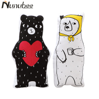 Nunubee 3D Cute Black And White Bears Cushion Animal Decorative Pillows Home Decor cojines decorativos para sofa 50X25CM