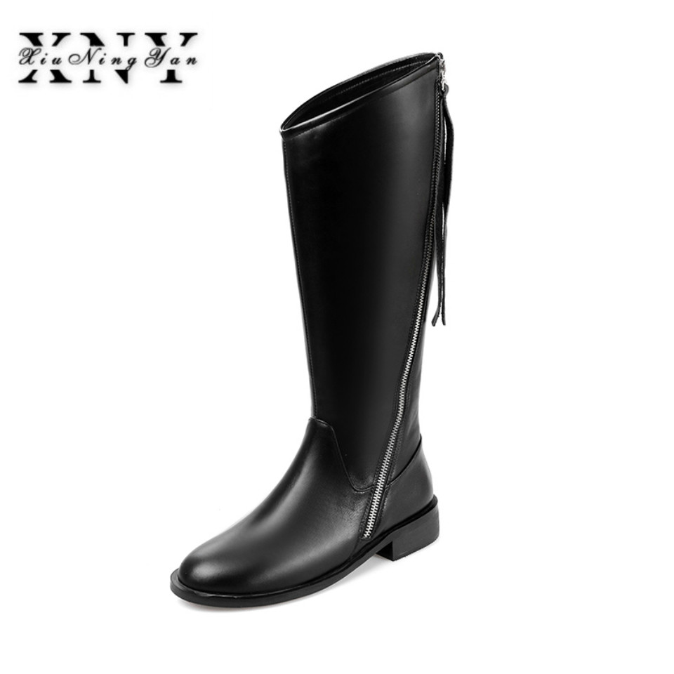 XIUNINGYAN Women Knee High Boots Genuine Leather Autumn Winter Warm Back Zip High Motorcycle Snow Boot 2018 Handmade Shoes Woman