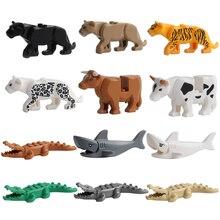 Figuras de animales modelo edificio grande bloques animales juguetes educativos para niños regalo Compatible con Legoed Duploed