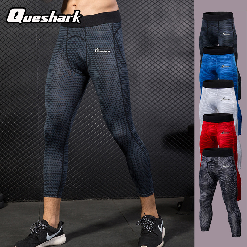 Queshark Leggings Baselayer Running Cropped-Tights-Pants Sports Yoga Men Compression