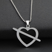 stainless steel love at first sight symbol heart arrow necklace shape cupid hollow shaped