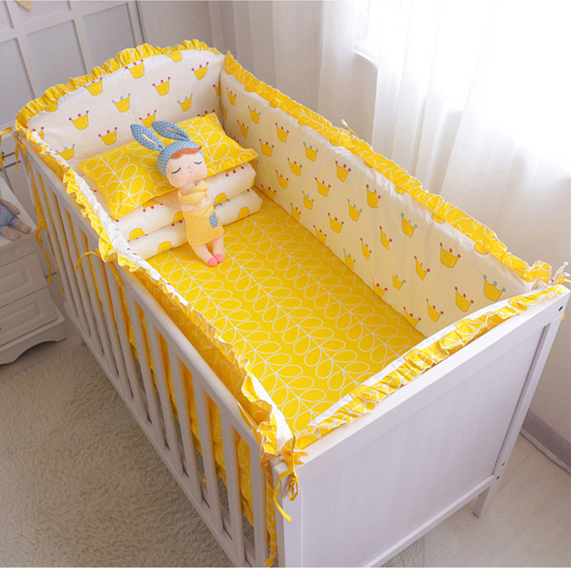 5 pcs/set Cotton Baby Cot Bedding Set Hot Newborn Crib Bedding Bumpers Sheet Pillow Cover Cot Bed Linen Baby Bedding Set 7 pcs set ins hot crown design crib bedding set kawaii thick bumpers for baby cot around include bed bumper sheet quilt pillow