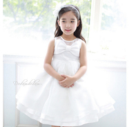 New Girls Dresses Party Princess Summer 2016 For Wedding Child White Bow Dresses