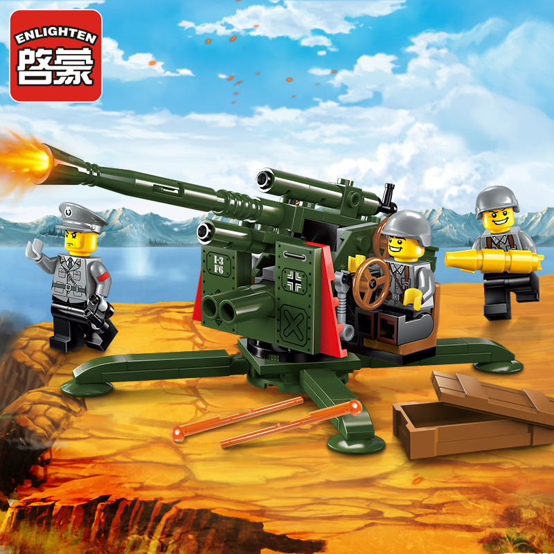 ENLIGHTEN Military Series WWII High Ground Anti Aircraft Gun Model Building Blocks DIY Figure Toys For Children Compatible Legoe enlighten building blocks navy frigate ship assembling building blocks military series blocks girls