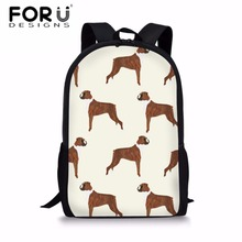 FORUDESIGNS Middle School Students Backpack Boxer Dog Printing Bags Softback Children Fashion Schoolbag Shoulder Daypack