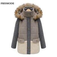 LANLAN 2015 New Women S Coats Fashion Winter Contrast Color Patchwork Thicken Woollen Coats Faux Fur