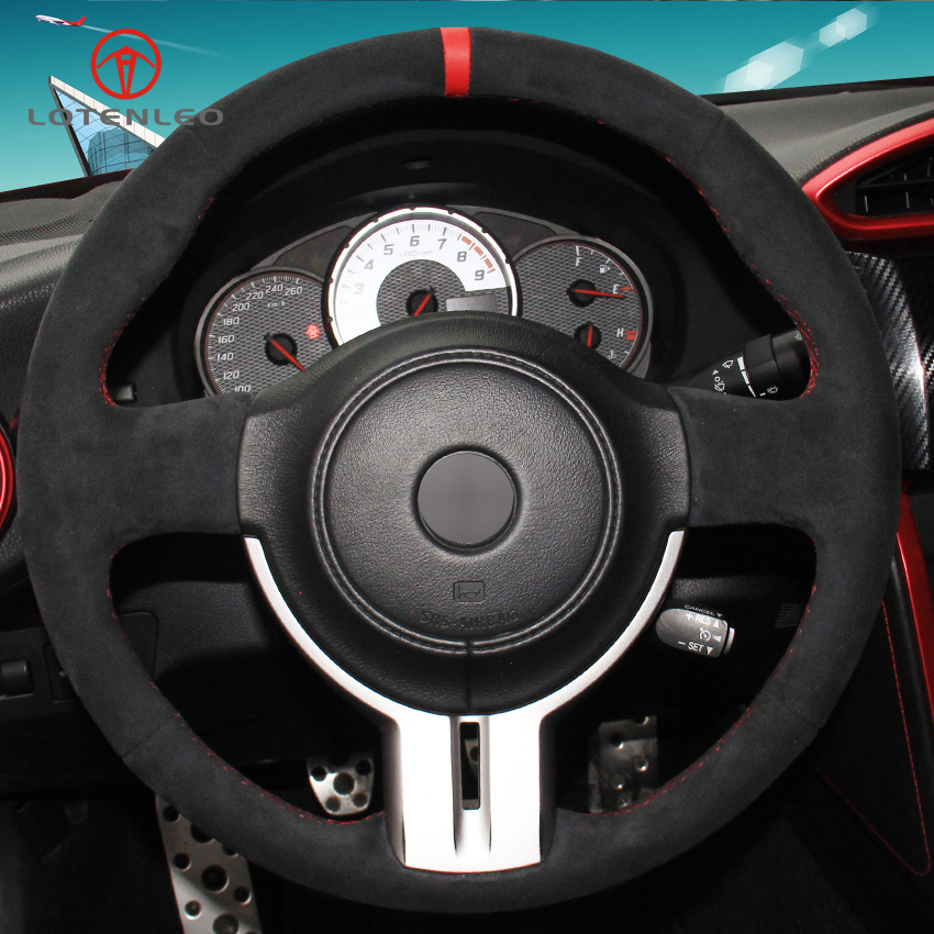 LQTENLEO Black Suede DIY Hand stitched Car Steering Wheel Cover for Toyota 86 Subaru BRZ