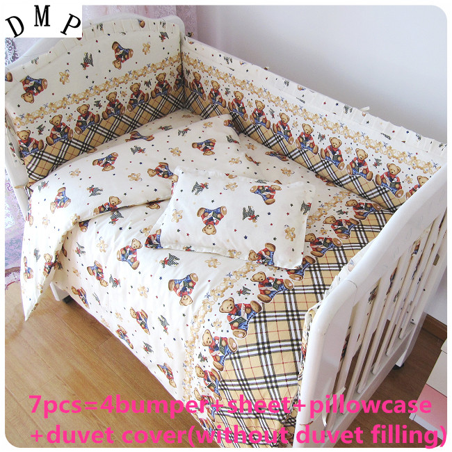 Discount! 6/7pcs Bear Baby Bedding Sets,Bedding Set For Baby 100% Cotton Free Shipping ,120*60/120*70cm