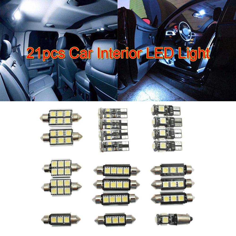 21pcs/set Car 12V White <font><b>Interior</b></font> <font><b>LED</b></font> Light <font><b>Bulb</b></font> Front Dome Makeup Mirror Lights Kit For <font><b>BMW</b></font> 5 Series M5 <font><b>E60</b></font> E61 (04-10) image